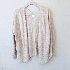 Lou & Grey Sz S beige knit open front cardigan